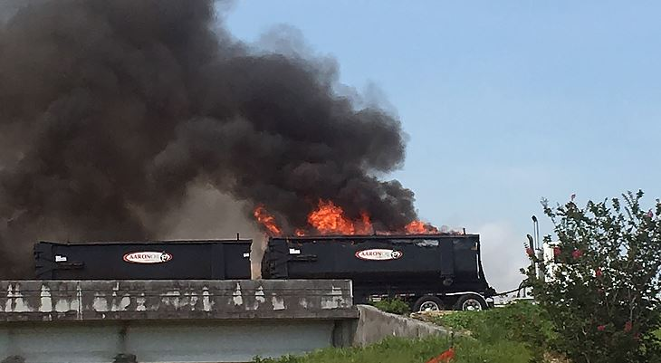 Railroad car on fire