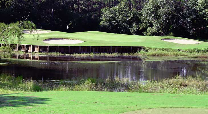 Image of a golf green and water feature