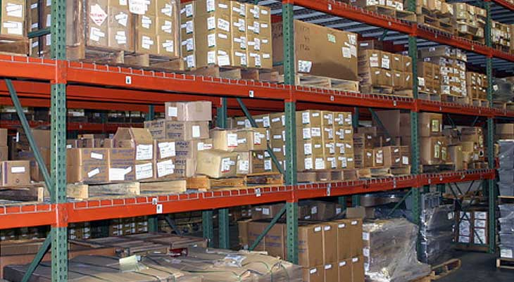 Image of warehouse shelves with items on them