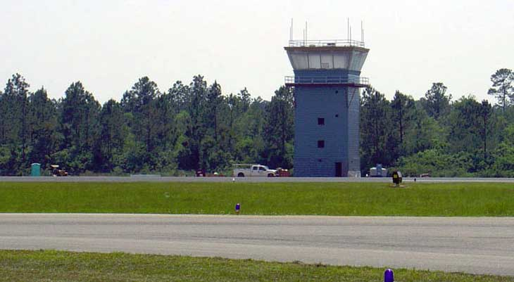 Control tower and runway